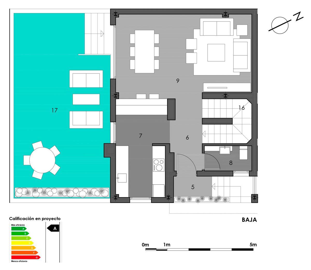 planta baja vivienda 2 con cocina americana
