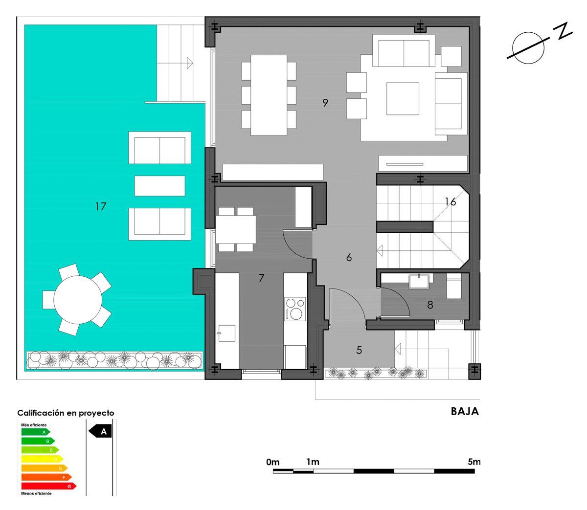 planta baja vivienda 2 con cocina cerrada