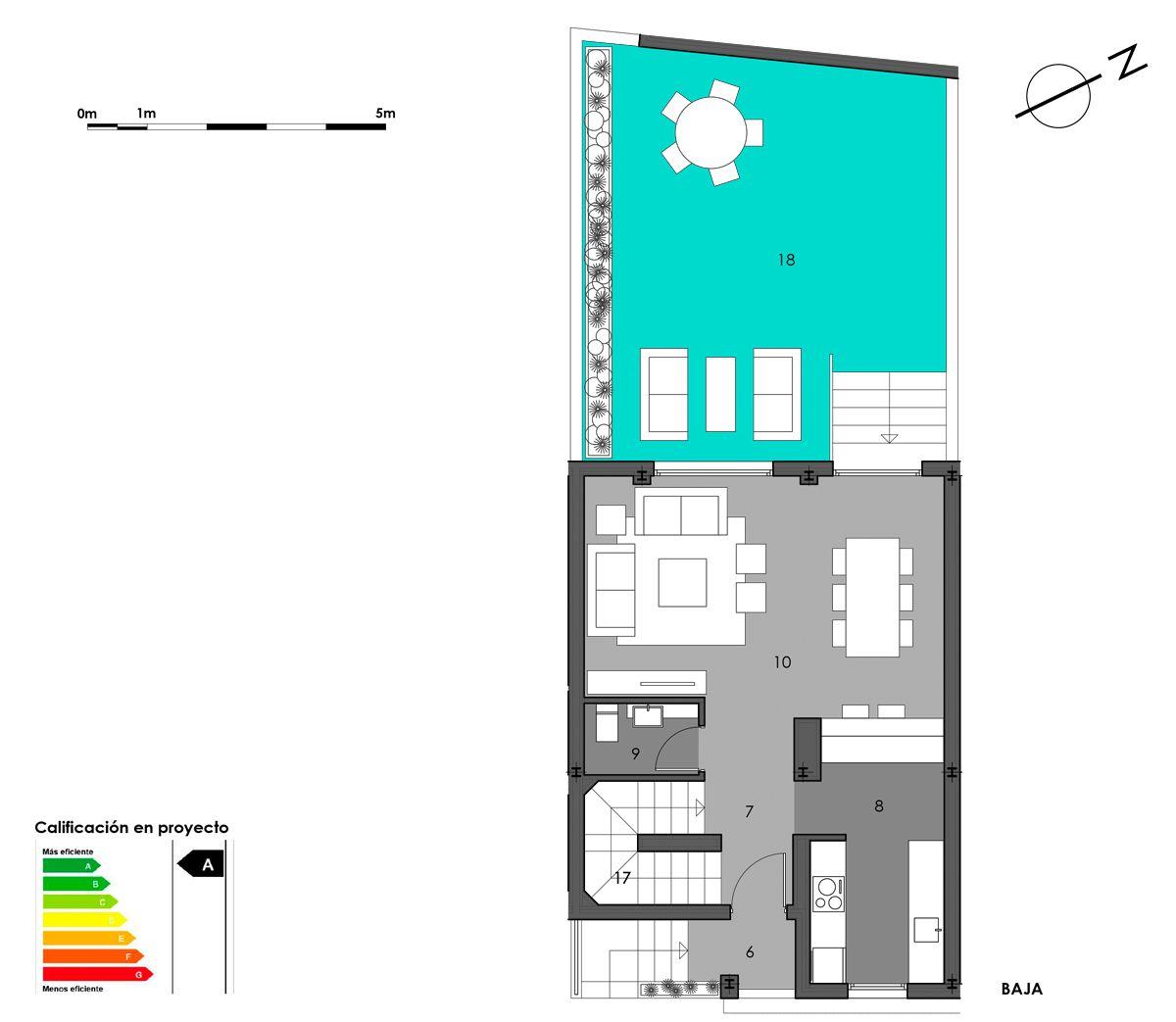 planta baja vivienda 5 con cocina americana