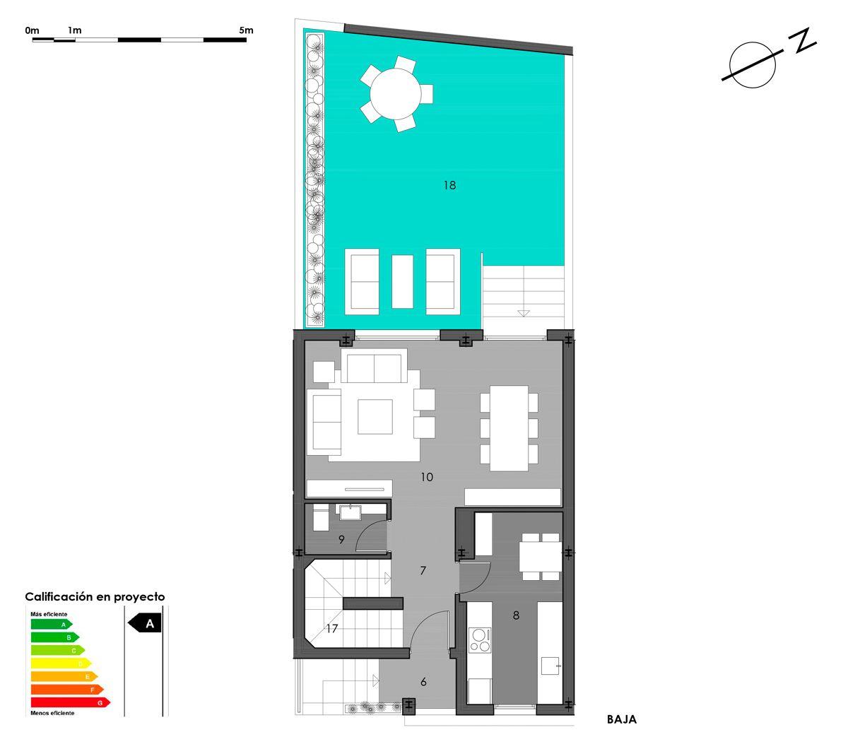 planta baja vivienda 5 con cocina cerrada
