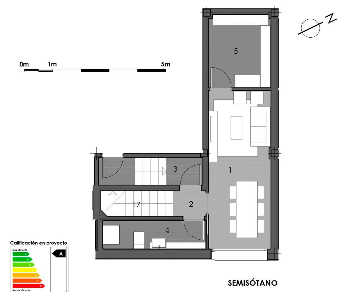 plano semisótano vivienda 5 con aseo en bodega