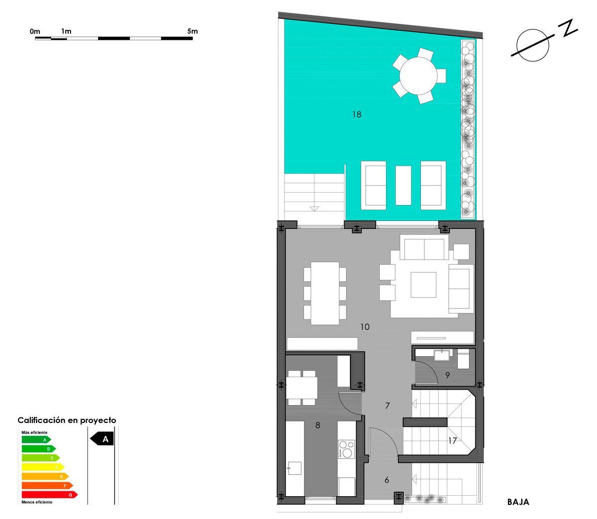 planta baja vivienda 6 con cocina cerrada