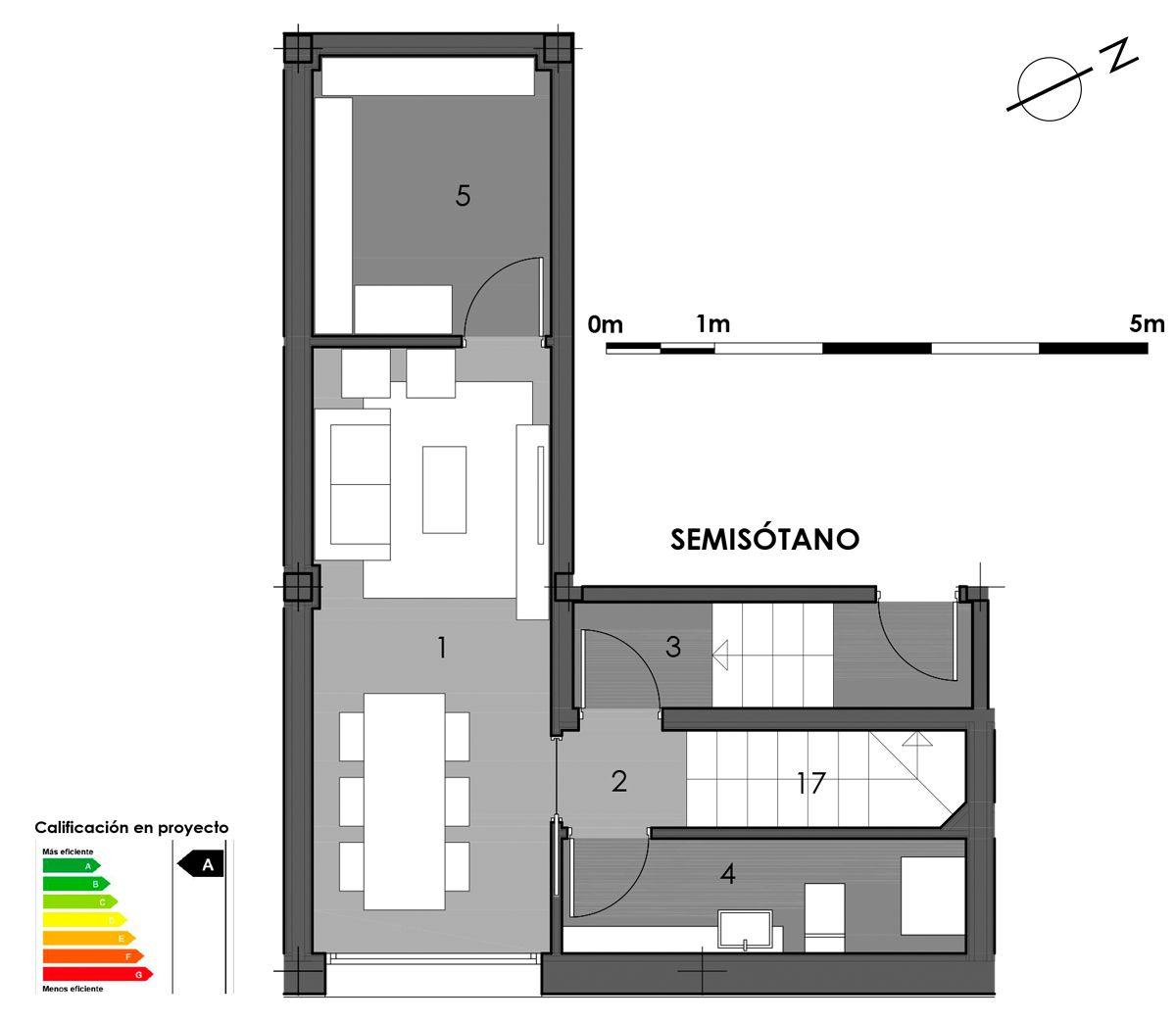 plano semisótano vivienda 6 con opción aseo en bodega