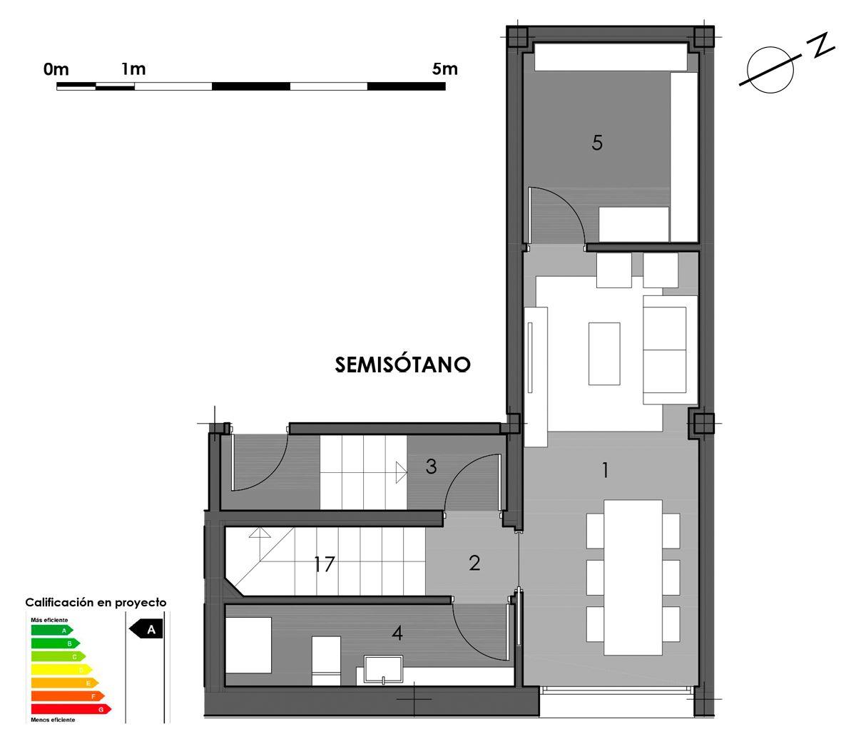 plano semisótano vivienda 7 con opción aseo en bodega