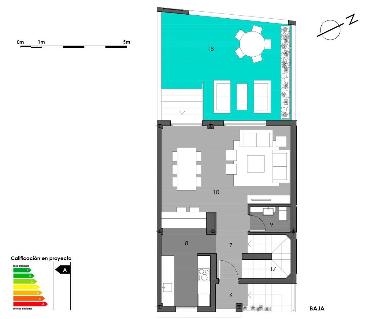 planta baja vivienda 8 con cocina americana