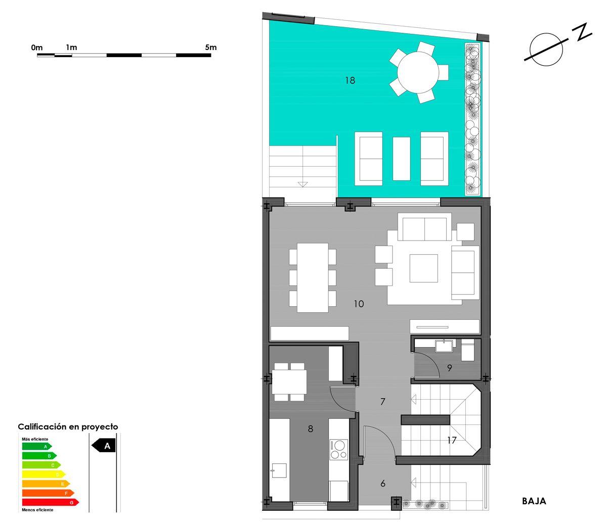 planta baja vivienda 8 con cocina cerrada
