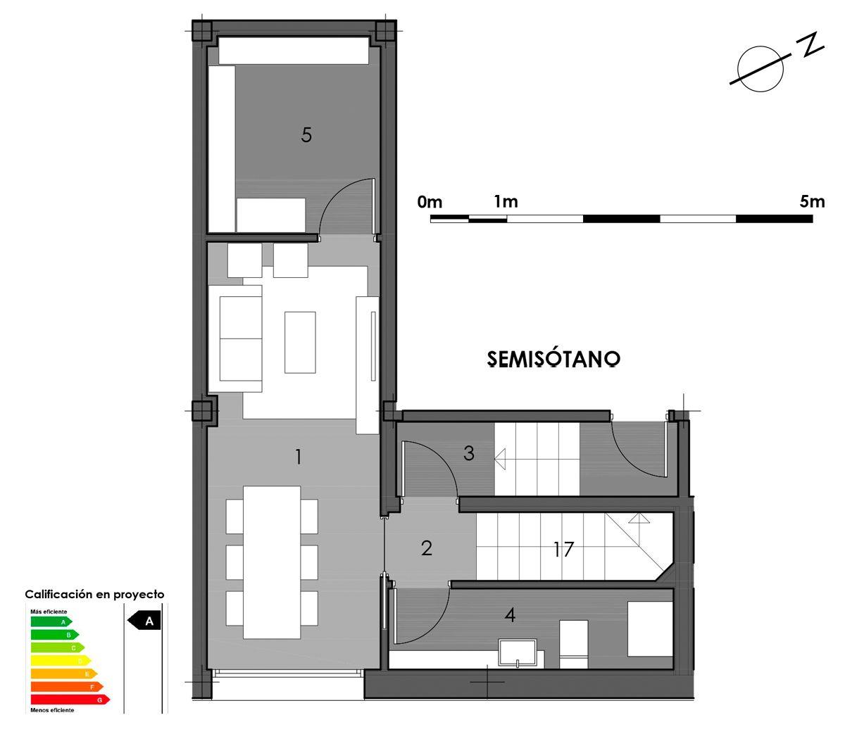 plano semisótano vivienda 8 con aseo en bodega